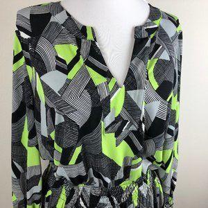 Alfani 3/4 Sleeve Tunic Top Size M Green Black